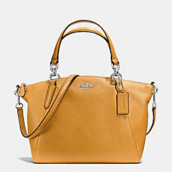 SMALL KELSEY SATCHEL IN PEBBLE LEATHER - f36675 - SILVER/MUSTARD