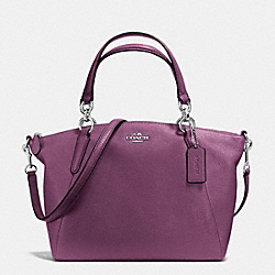 SMALL KELSEY SATCHEL IN PEBBLE LEATHER - f36675 - SILVER/MAUVE