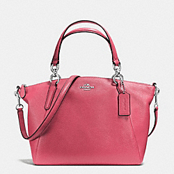 SMALL KELSEY SATCHEL IN PEBBLE LEATHER - f36675 - SILVER/STRAWBERRY