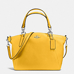 SMALL KELSEY SATCHEL IN PEBBLE LEATHER - f36675 - SILVER/CANARY