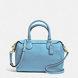 COACH MINI BENNETT SATCHEL IN PEBBLE LEATHER - IMITATION GOLD/BLUEJAY - F36677