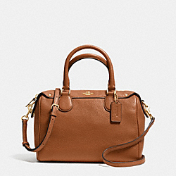 MINI BENNETT SATCHEL IN PEBBLE LEATHER - IMITATION GOLD/SADDLE - COACH F36677