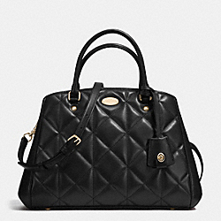 COACH SMALL MARGOT CARRYALL IN QUILTED LEATHER - IMITATION GOLD/BLACK - F36679