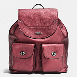 COACH MICKIE BACKPACK IN GRAIN LEATHER - ANTIQUE NICKEL/METALLIC CHERRY - F36683