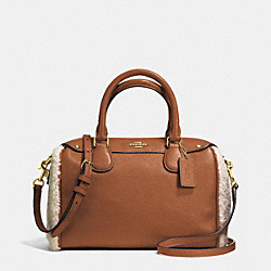 COACH MINI BENNETT SATCHEL IN SHEARLING AND LEATHER - IMITATION GOLD/SADDLE/NATURAL - F36689
