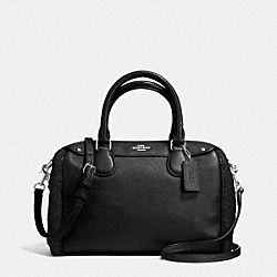 COACH MINI BENNETT SATCHEL IN SHEARLING AND LEATHER - SILVER/BLACK/BLACK - F36689