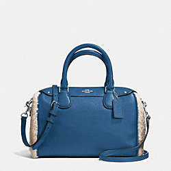 COACH MINI BENNETT SATCHEL IN SHEARLING AND LEATHER - SILVER/SLATE/NATURAL - F36689
