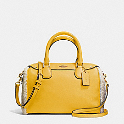 COACH MINI BENNETT SATCHEL IN SHEARLING AND LEATHER - SILVER/BANANA/NEUTRAL - F36689