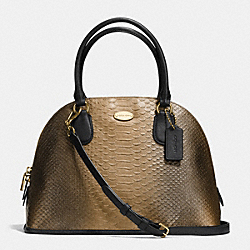 COACH CORA DOMED SATCHEL IN METALLIC SNAKE EMBOSSED LEATHER - IMITATION GOLD/GOLD - F36693