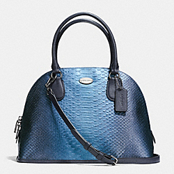 COACH CORA DOMED SATCHEL IN METALLIC SNAKE EMBOSSED LEATHER - ANTIQUE NICKEL/METALLIC BLUE - F36693