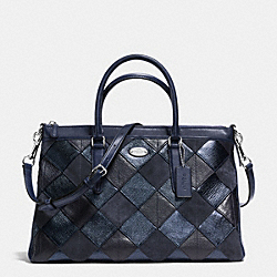 COACH MORGAN SATCHEL IN PATCHWORK LEATHER - SILVER/BLUE MULTICOLOR - F36698