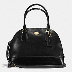COACH CORA DOMED SATCHEL IN PATENT CROSSGRAIN LEATHER - IMITATION GOLD/BLACK - F36703
