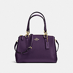 COACH MINI CHRISTIE CARRYALL IN CROSSGRAIN LEATHER - IMITATION GOLD/AUBERGINE - F36704