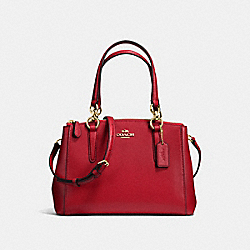 COACH MINI CHRISTIE CARRYALL IN CROSSGRAIN LEATHER - IMITATION GOLD/TRUE RED - F36704
