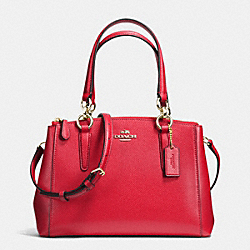 COACH MINI CHRISTIE CARRYALL IN CROSSGRAIN LEATHER - IMITATION GOLD/CLASSIC RED - F36704