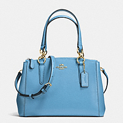 MINI CHRISTIE CARRYALL IN CROSSGRAIN LEATHER - f36704 - IMITATION GOLD/BLUEJAY