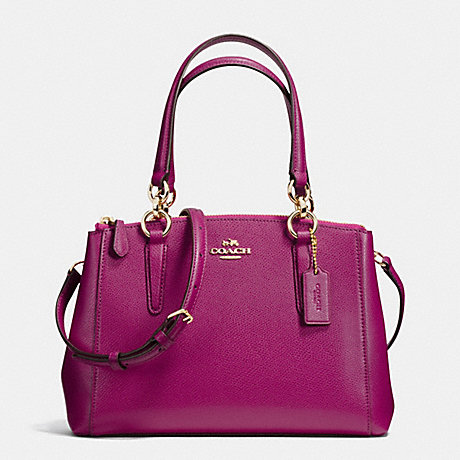 COACH MINI CHRISTIE CARRYALL IN CROSSGRAIN LEATHER - IMITATION GOLD/FUCHSIA - f36704
