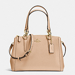 COACH MINI CHRISTIE CARRYALL IN CROSSGRAIN LEATHER - IMITATION GOLD/NUDE - F36704