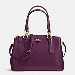 COACH MINI CHRISTIE CARRYALL IN CROSSGRAIN LEATHER - IMITATION GOLD/PLUM - F36704