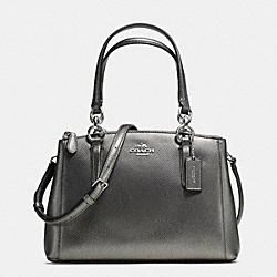 COACH MINI CHRISTIE CARRYALL IN CROSSGRAIN LEATHER - SILVER/GUNMETAL - F36704