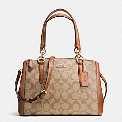 COACH MINI CHRISTIE CARRYALL IN SIGNATURE - IMITATION GOLD/KHAKI/SADDLE - F36718