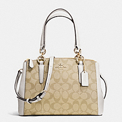 MINI CHRISTIE CARRYALL IN SIGNATURE - f36718 - IMITATION GOLD/LIGHT KHAKI/CHALK