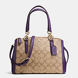 MINI CHRISTIE CARRYALL IN SIGNATURE - f36718 - IMITATION GOLD/KHAKI AUBERGINE