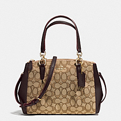 COACH MINI CHRISTIE CARRYALL WITH PLEATS IN SIGNATURE - IMITATION GOLD/KHAKI/BROWN - F36719