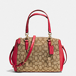 COACH MINI CHRISTIE CARRYALL WITH PLEATS IN OUTLINE SIGNATURE - IMITATION GOLD/KHAKI/CLASSIC RED - F36719