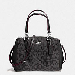 COACH MINI CHRISTIE CARRYALL WITH PLEATS IN SIGNATURE - SILVER/BLACK SMOKE/BLACK - F36719