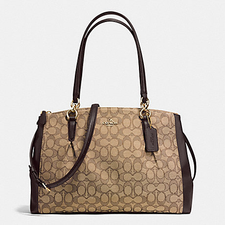 COACH CHRISTIE CARRYALL WITH PLEATS IN SIGNATURE - IMITATION GOLD/KHAKI/BROWN - f36720