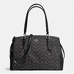 COACH CHRISTIE CARRYALL WITH PLEATS IN SIGNATURE - SILVER/BLACK SMOKE/BLACK - F36720