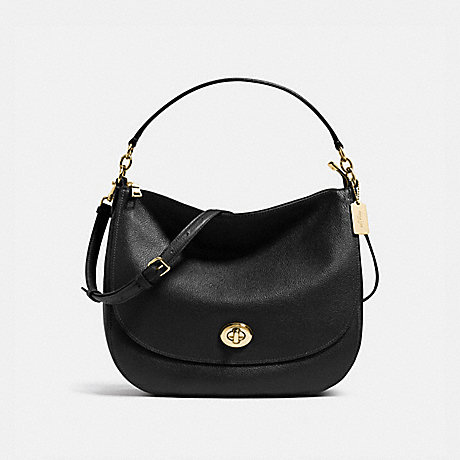 COACH TURNLOCK HOBO IN PEBBLE LEATHER - LIGHT GOLD/BLACK - f36762