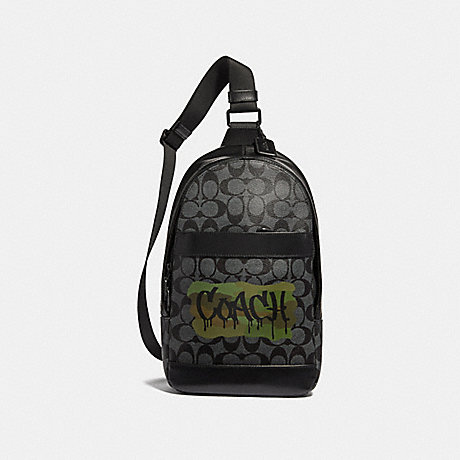COACH CHARLES PACK IN SIGNATURE CANVAS WITH GRAFFITI - CHARCOAL/BLACK/MATTE BLACK - F36813