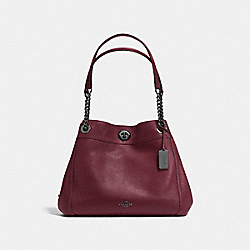 TURNLOCK EDIE SHOULDER BAG - DK/BURGUNDY - COACH F36855
