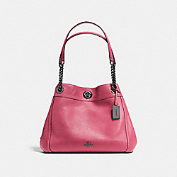 TURNLOCK EDIE SHOULDER BAG - ROUGE/DARK GUNMETAL - COACH F36855
