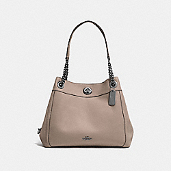 COACH TURNLOCK EDIE SHOULDER BAG - DARK GUNMETAL/STONE - F36855