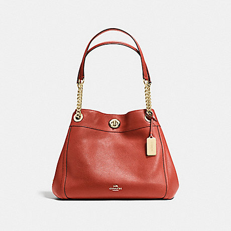COACH TURNLOCK EDIE SHOULDER BAG - TERRACOTTA/LIGHT GOLD - f36855