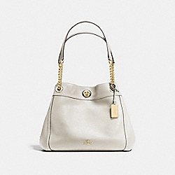 COACH TURNLOCK EDIE SHOULDER BAG - CHALK/LIGHT GOLD - F36855