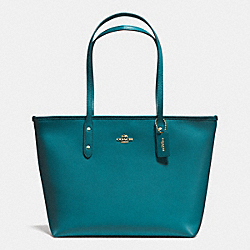 CITY ZIP TOTE IN CROSSGRAIN LEATHER - f36875 - IMITATION GOLD/ATLANTIC