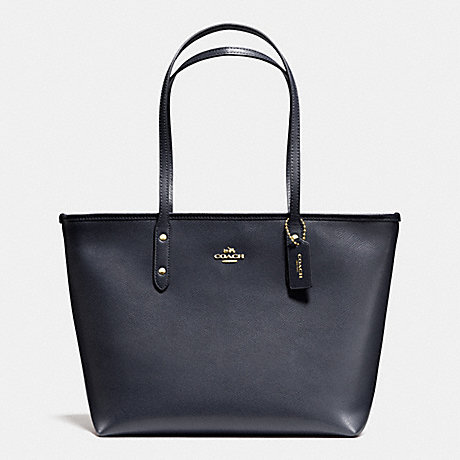 COACH CITY ZIP TOTE IN CROSSGRAIN LEATHER - LIGHT GOLD/MIDNIGHT - f36875