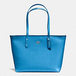 CITY ZIP TOTE IN CROSSGRAIN LEATHER - f36875 - SILVER/AZURE