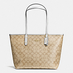 COACH CITY ZIP TOTE IN SIGNATURE - IMITATION GOLD/LIGHT KHAKI/CHALK - F36876