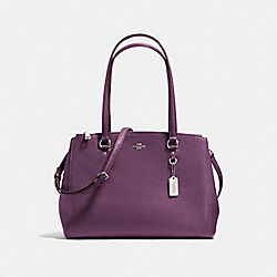 STANTON CARRYALL IN CROSSGRAIN LEATHER - f36878 - SILVER/EGGPLANT