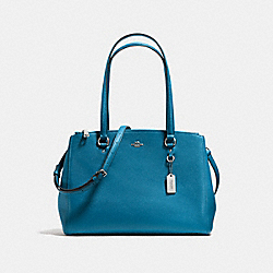STANTON CARRYALL IN CROSSGRAIN LEATHER - f36878 - SILVER/PEACOCK
