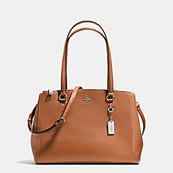 STANTON CARRYALL IN CROSSGRAIN LEATHER - f36878 - SILVER/SADDLE