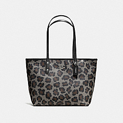 COACH CITY ZIP TOTE IN OCELOT PRINT COATED CANVAS - SILVER/GREY MULTI - F36883