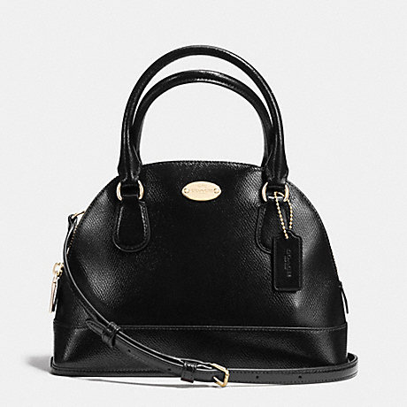 COACH f36949 MINI CORA DOMED SATCHEL IN PATENT CROSSGRAIN LEATHER IMITATION GOLD/BLACK