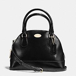 COACH MINI CORA DOMED SATCHEL IN PATENT CROSSGRAIN LEATHER - IMITATION GOLD/BLACK - F36949