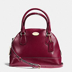 COACH MINI CORA DOMED SATCHEL IN PATENT CROSSGRAIN LEATHER - IMITATION GOLD/SHERRY - F36949